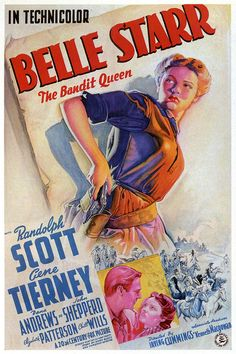 Gene Tierney and Randolph Scott in 1941's Belle Star, The Bandit Queen. #vintage #1940s #movies