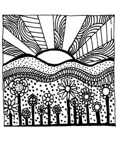 Download Printable Adult Coloring Page digital hand drawn papers by me printables sun sunset flowers hills, shown are some examples