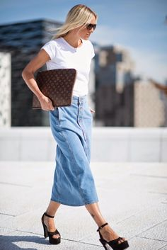 long denim skirt. Ce