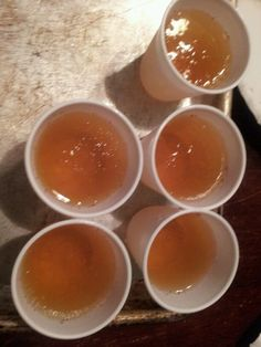 Apple pie moonshine jello shot  1 cup of 100% apple juice  boil for 5 min  And 1 package of unflavored jello Mix well   Add 1/2 cup of cold apple juice  And 1/2 cup of cold moonshine find that the applepie moonshine work the best