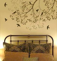 wall art, bed frames, wall decals, wall murals, bedroom walls, paint, tree branches, stencil, tree murals