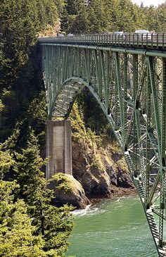 Deception Pass Bridge, Washington--visit at sunset and stand on the bridge--you'll never forget it