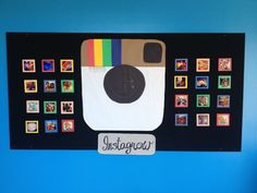 """Instagram"" Bulletin Board. Our lower school theme this year is ""Grow Your Gifts"" hence the Instagrow tag with a nod to Instagram. Our inservice was tech based, so a connection there as well. All the photos were Instagram photos of our Arts Week, summer arts camp, book character day and other fun events that happened at our school last year. Pics of kids, teachers, administration, and close ups of activities. I am adding small hash tags to the individual pics."