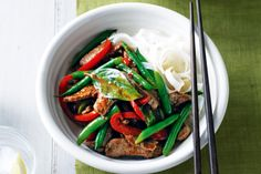 Sweet chilli & soy beef stir-fry with rice noodles