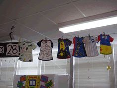 Students decorate a t-shirt template to describe themselves -- they can include pictures that represent what they like to do after school, their favorite foods, etc. Everyone gets a chance to explain why they decorated their shirt the way that they did. After everyone is done, I hang the t-shirts up on a clothesline in the room.