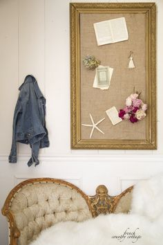 Create a classy memo board with a stunning old frame.  Give the frame a fresh coat of paint, and customize your memo board!