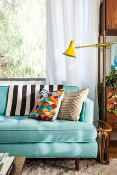 decor, interior, design homes, pillow, living rooms, blue, color patterns, hous, couches