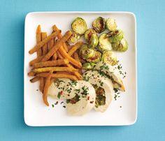 Dinner: Stuffed Chicken w Sweet Potato Fries     Superfood: sweet potato