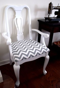 "Reupholstered formal chair....adding a ""Chevron"" for TODAY!"
