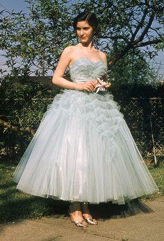 Judy dressed for senior prom, 1956.