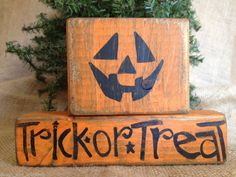 Primitive Jack O Lantern Halloween Trick or Treat Shelf Sitter Wood Blocks Set #PrimtiveHalloween