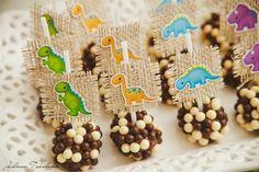 Cake Pops at a Dinosaur Themed 1st Birthday Party with Lots of Cute Ideas via Kara's Party Ideas | KarasPartyIdeas.com #Dino #DinosaurParty #PartyIdeas #PartySupplies #CakePops