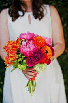 orange, green, and fuchsia bouquet // photo by SloanPhotographers.com