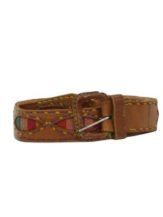 70s -Cant read stamp- Unisex tan leather hippie style belt with rainbow embroidered oval panels and leather wrapped d-ring buckle.