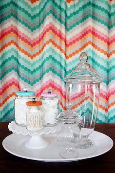eighteen25: Pretty Bathroom Jars - reuse glass jars as pretty bathroom organizers