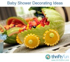 Baby shower on pinterest baby shower games shower ideas for Baby shower fruit decoration ideas