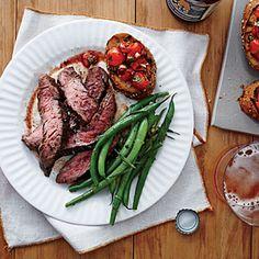 Flank Steak with Tomato Bruschetta | Cooking Light #myplate #protein #veggies #wholegrain