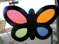 Stained Glass Butterflies -- decoration for party 2012 craft, butterfli birthday, birthday parties, butterfli craft, craft ideas, kid crafts, crafty kids, paper butterflies, butterflies birthday party