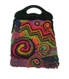 Rainbow Freeform Crochet Womens Handbag by rensfibreart on Etsy, $195.00