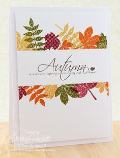 CAS. One layer. Masked center with kissed leaves in fall colors. Large sentiment. Thanksgiving card.