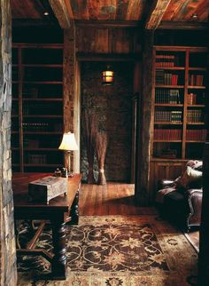 libraries, interior, books, cabin, rug, dream homes, wood ceilings, hous, rustic room