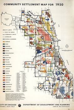 """""""Community Settlement Map For 1950""""  A colored demographic map created by the Department of Development and Planning under then Chicago Mayor Richard J. Daley."""