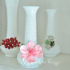 UPcycled milk glass vases with vintage jewelry