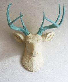 Cream & Robins Egg Blue Deer Head Wall Mount.