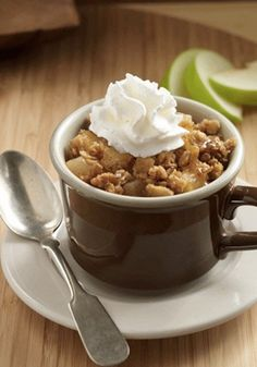 This Easy Apple Crisp dessert recipe—with tart apples and sweet granola—can be made in a microwavable mug!