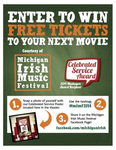 Celebrating our Celebrated Service Award with Celebration Cinema: Enter to Win Free Flix Tix During Your Next Movie Visit