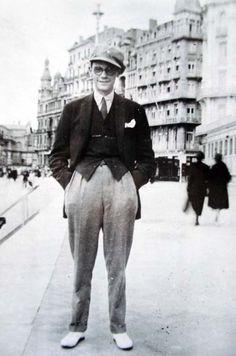 James Joyce at the Brighton Beach Esplanade, ca. 1907 (and smiling!)