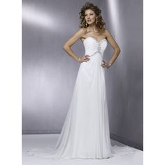 fall long chiffon bridal wedding dress