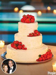 Katie Couric's Strawberry-Lemon Wedding Cake lemon-sourcream cake + jam + cut strawberries + buttercream icing