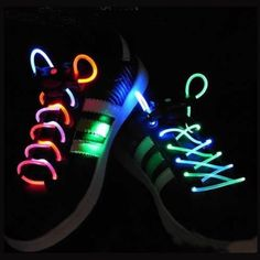 Fiber optic shoe laces!  What could be better than glow in the dark shoe laces?
