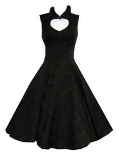 Ladies 1940's 1950's Vintage Pin-Up Style Black Damask Cut Out Neckline Rockabilly Cocktail Dress Hearts Roses Price: £34.99 Designed and made by alternative clothing company Hearts and Roses Vintage 1940's / 1950's inspired design Top quality substantial cotton fabric