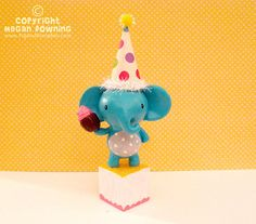 Cake Topper - Emily the Birthday Elephant - Original Paperclay Gourd Art - by PigAndPumpkin