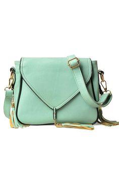 Oasap  Tassel Detail Square Shaped Shoulder Bag #mint