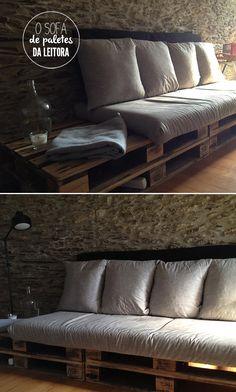 Um sofá sustentável. Veja:http://www.casadevalentina.com.br/blog/materia/inspira-o-do-dia--paletes.html #paletes #sofa #sustentavel #furniture #diy #decor #design #casadevalentina