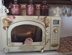 SHABBY CHIC MICROWAVE  REPAINTED