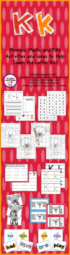 free phonics sheets and lots of printables for the letter Kk.