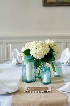 ball jars, pink flowers, white flowers, bathroom makeovers, centerpiec, classic white, hydrangea, blue weddings, blue mason jars with flowers