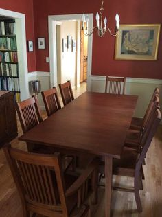 Classic Shaker Table with American Mission Style Dining Chairs. Both shown with Autumn Cherry Stain. Table: http://vermontwoodsstudios.com/products/boat-top-shaker-table Chairs: http://vermontwoodsstudios.com/products/american-mission-chair