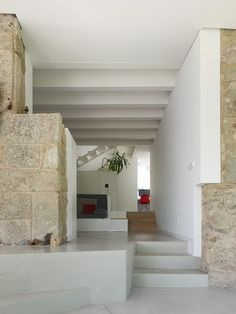 Home Design, Modern Interior Project In Spain With Stairs And Brick Wall Naturaly Impression Family House Architecture Ideas: Wonderful Cont...