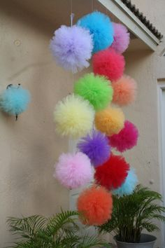 "This listing is for Medium Multi-color Pom Garland. Medium and Smaller garlands are available as well... Each large pom measures 8"" diameter."