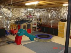 decor, unfinish basement, playrooms, basement idea, basements