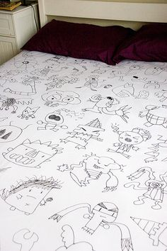 Make a bedspread out of your kids artwork!  Such a cool idea
