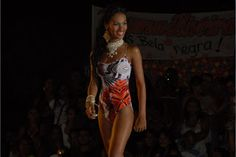"A contestant in the ""Most Beautiful Black Woman of Amapá"" contest. Amapá is a state in northern Brazil."