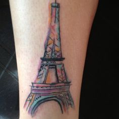 Eiffel Tower water color tattoo. It reminds me of Madeline.