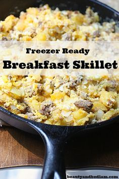 This easy breakfast skillet is one of our family favorites. I Make up freezer bags and freeze for breakfast throughout the week.