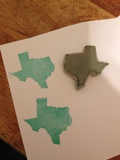 Texas stamp, carved using Stampin' Up's Undefined stamp carving kit!